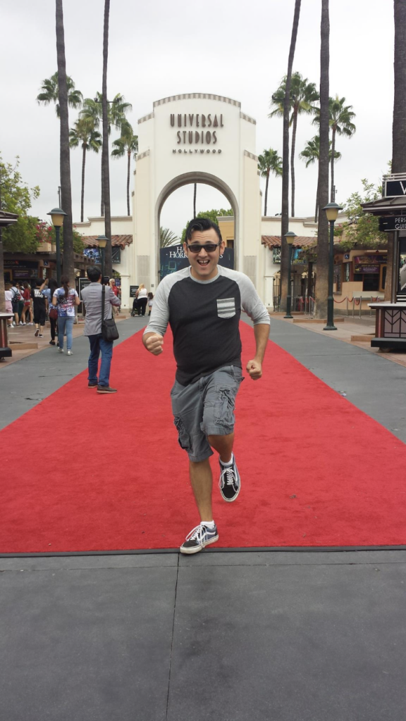 Walking(?) the red carpet at Universal Studios Hollywood
