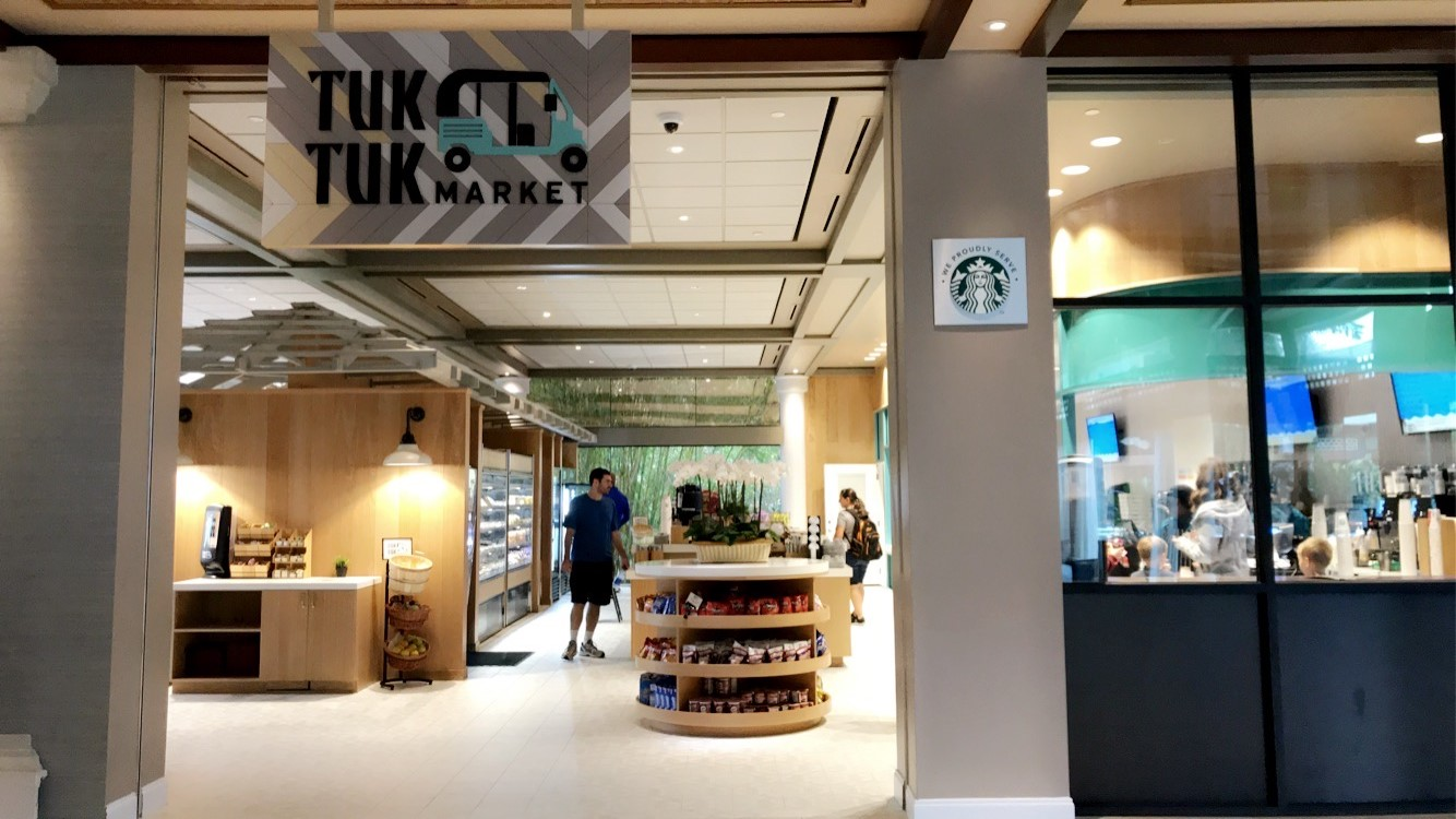The entrance to Tuk Tuk Market grab and go location, with coffee bar