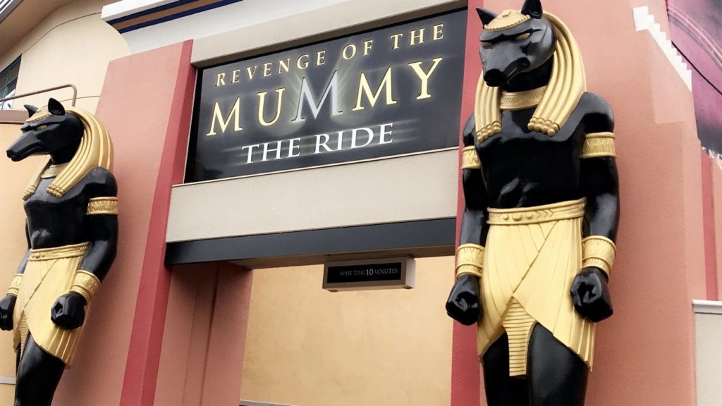Revenge of the Mummy's entrance at Universal Studios Hollywood