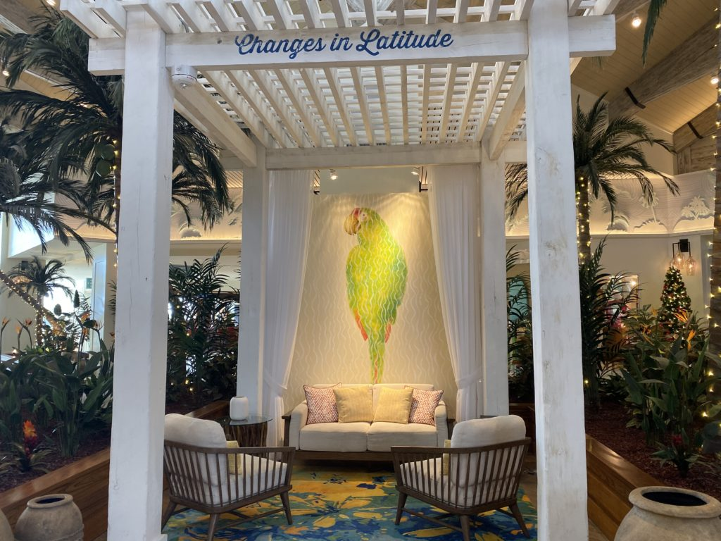 A seat in Margaritaville Resort Orlando's lobby