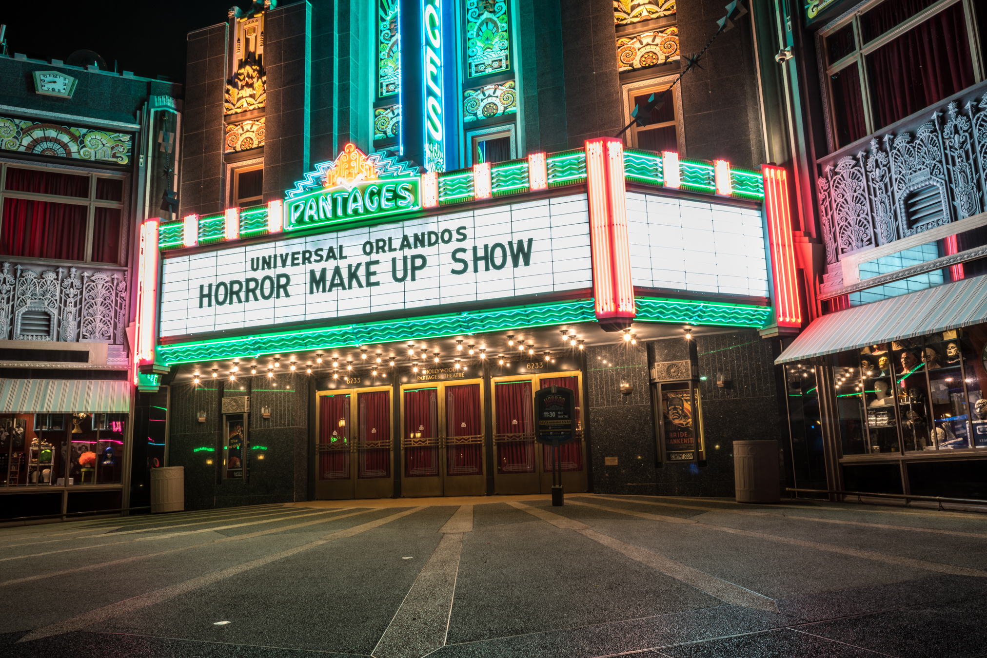 The Pantages Theater marquee advertises Universal Orlando's Horror Make-Up Show