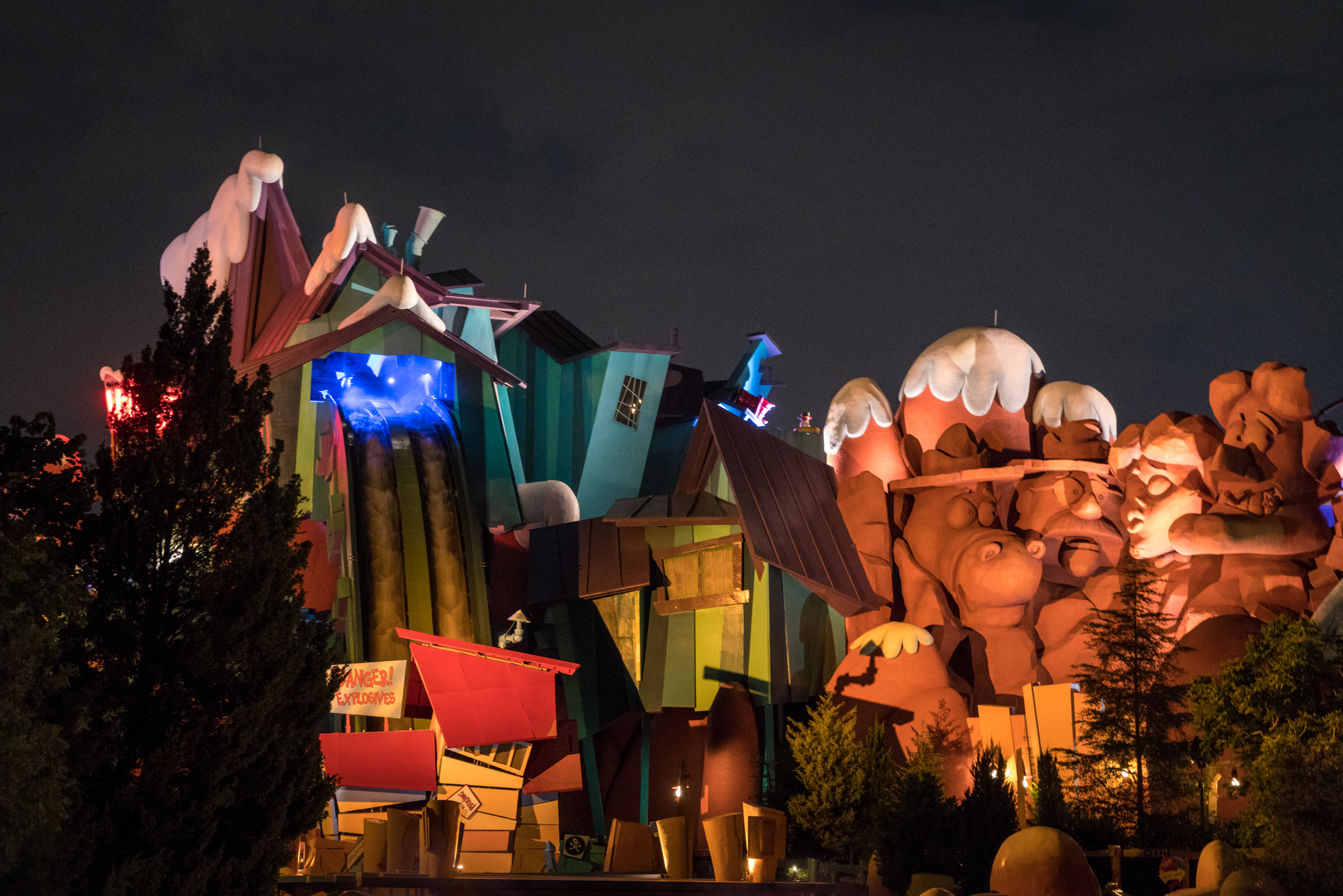 Ripsaw Falls after dark.