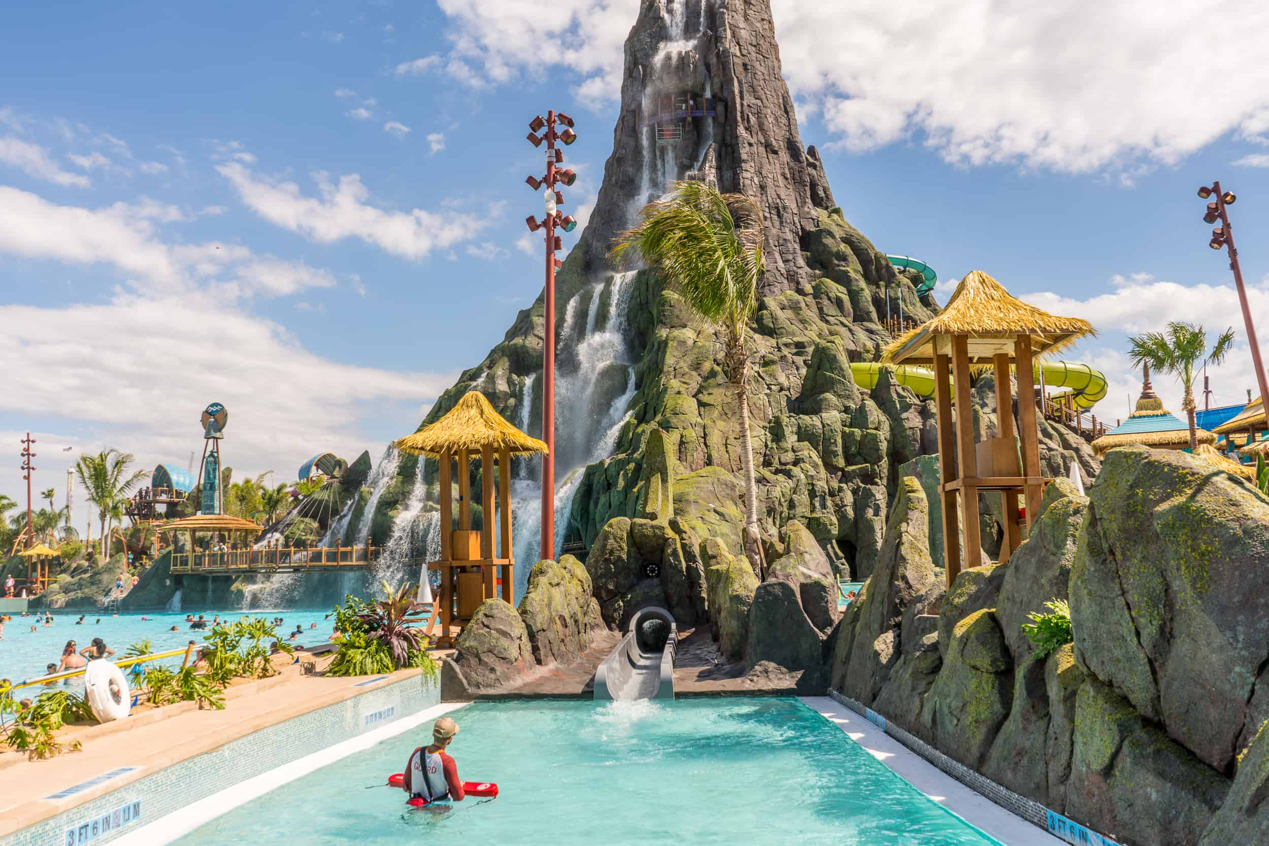 Ko'okiri slide exits into a pool at the foot of Krakatau volcano