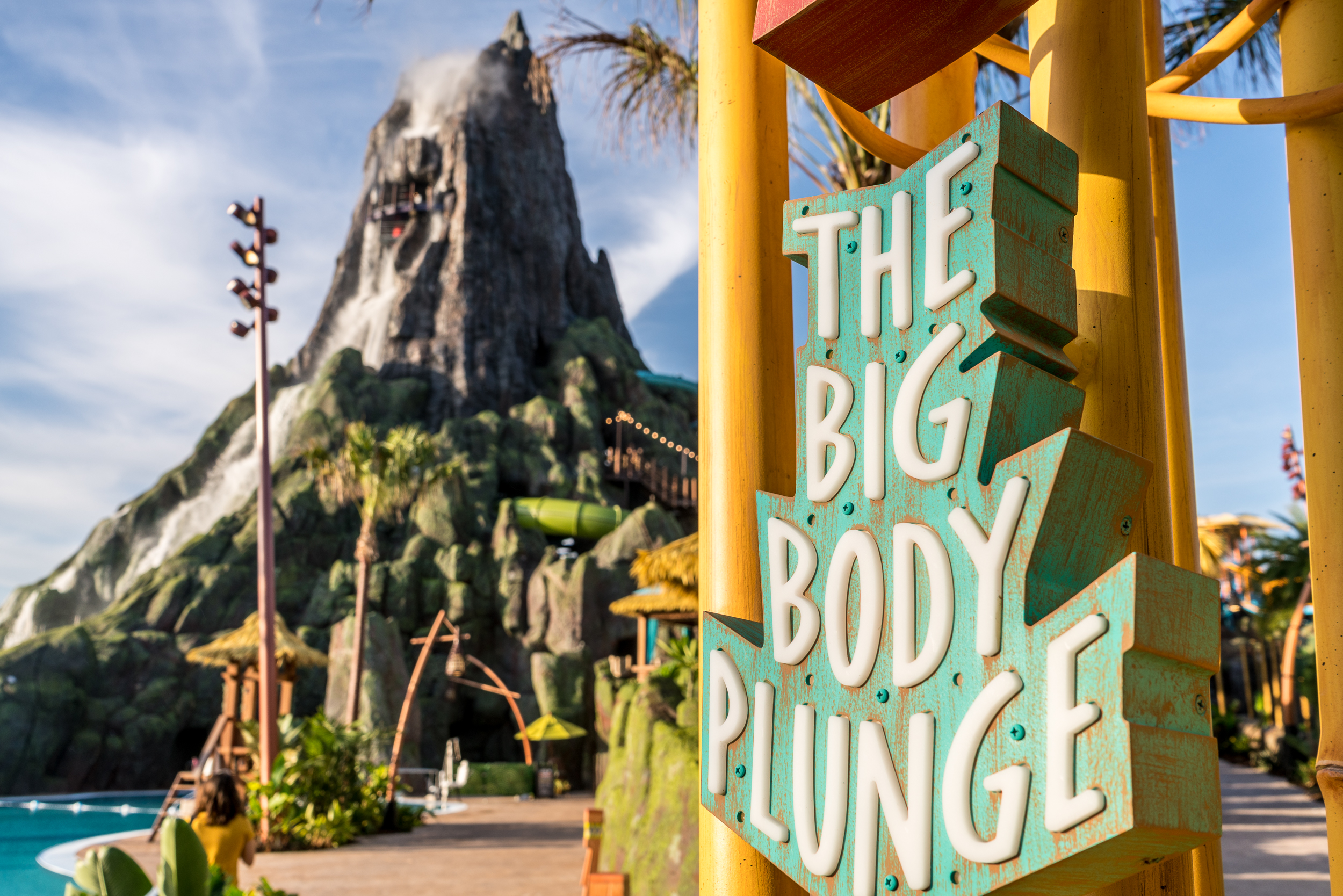 """The entrance sign for Ko'okiri Body Plunge reads """"The Big Body Plunge."""""""
