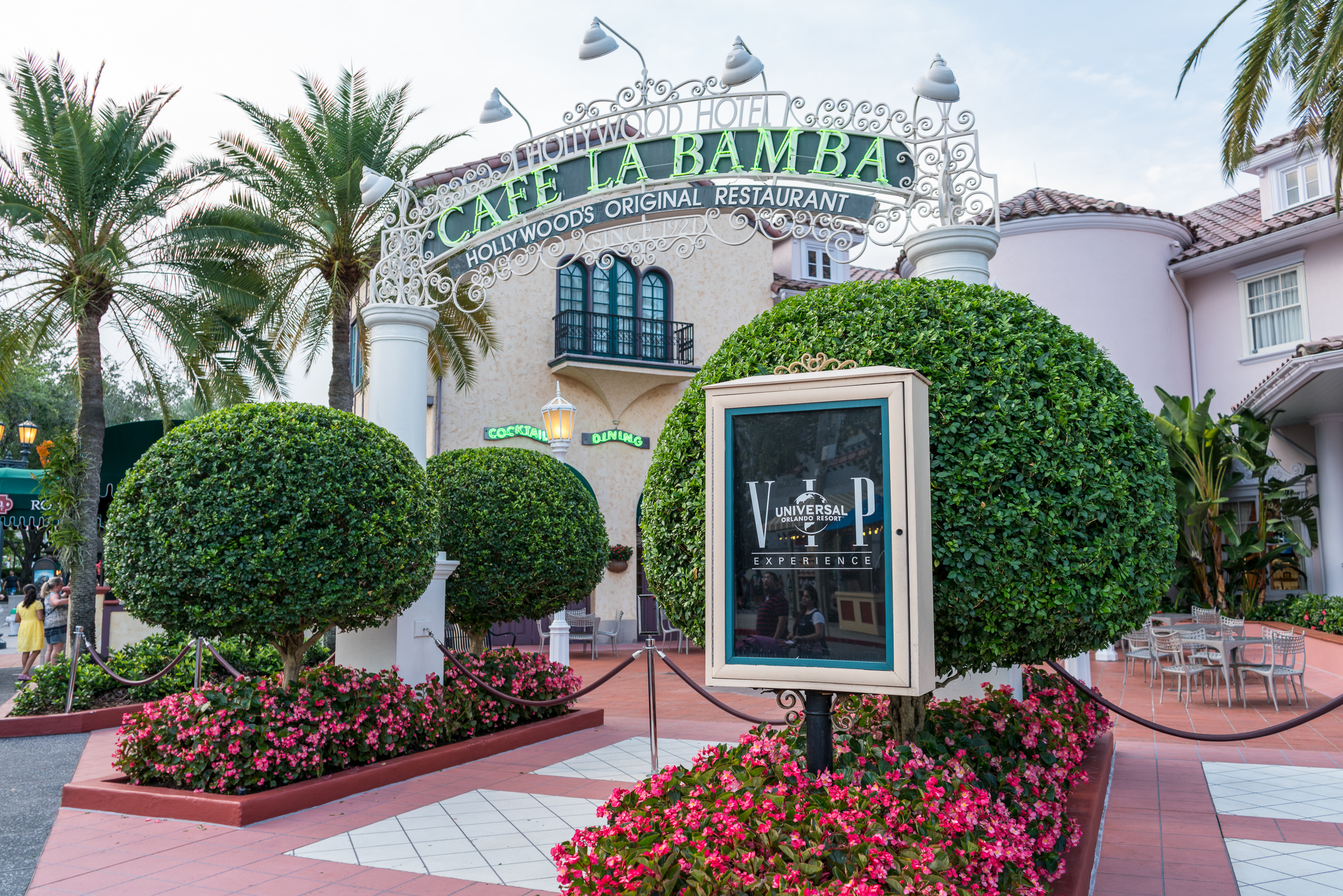 The Hollywood Hotel exterior facade of Cafe La Bamba has the entrance blocked off to all but VIP tour guests