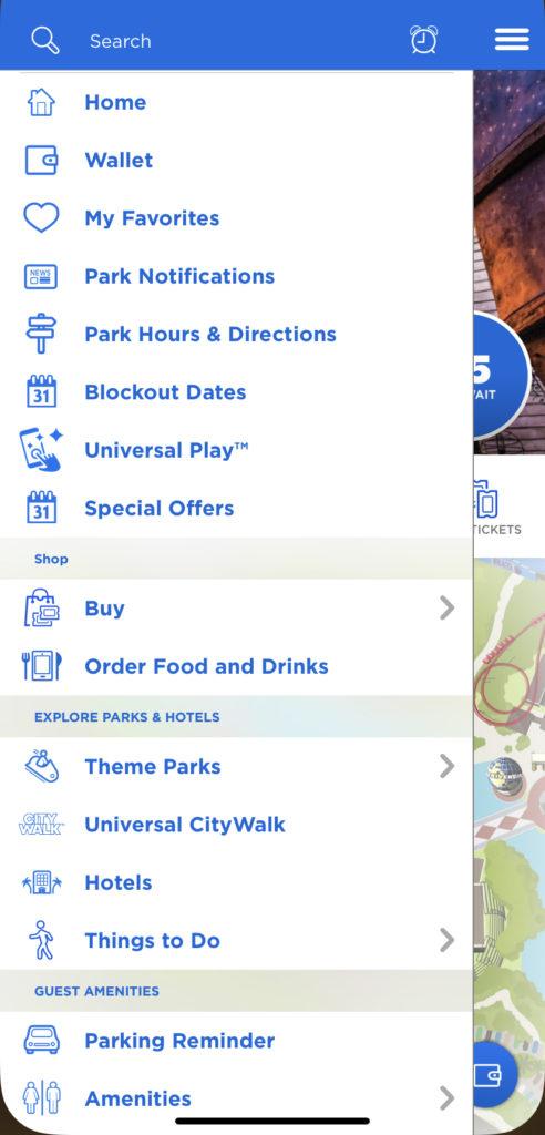 Universal Orlando mobile app menu