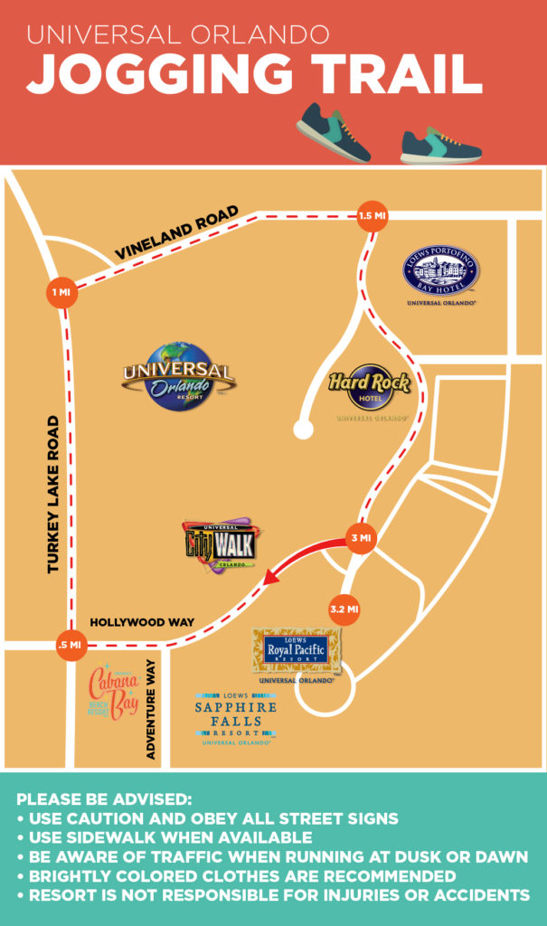 Universal Orlando jogging trail map