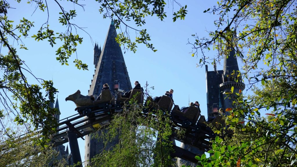 Flight of the Hippogriff in front of Hogwarts Castle