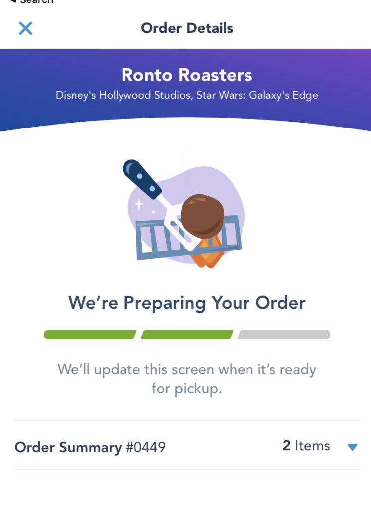 Using Disney's mobile order