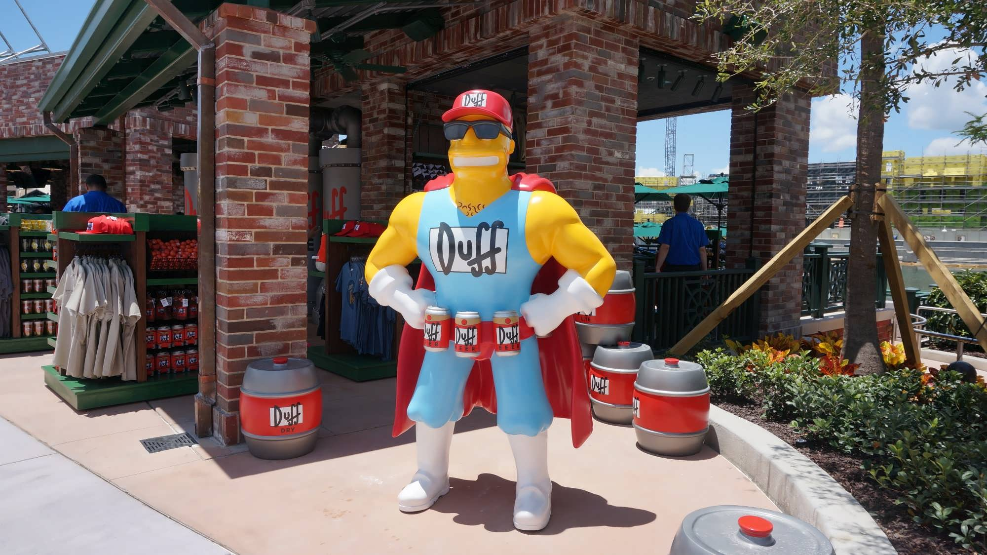 Duffman poses outside of the Duff Brewery gift shop