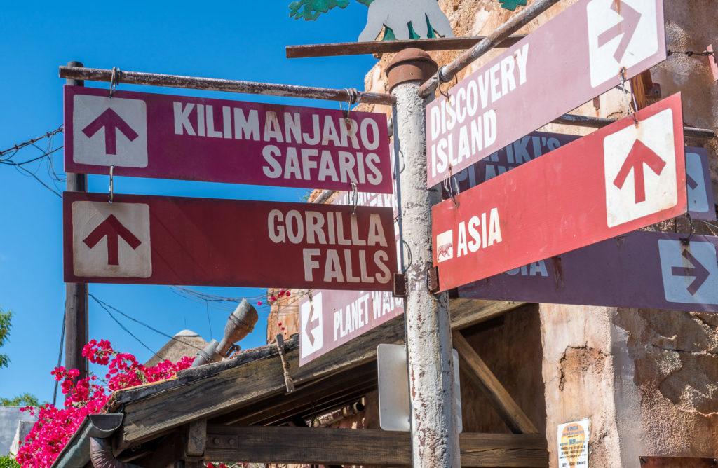 Kilimanjaro Safaris and Gorilla Falls Sign
