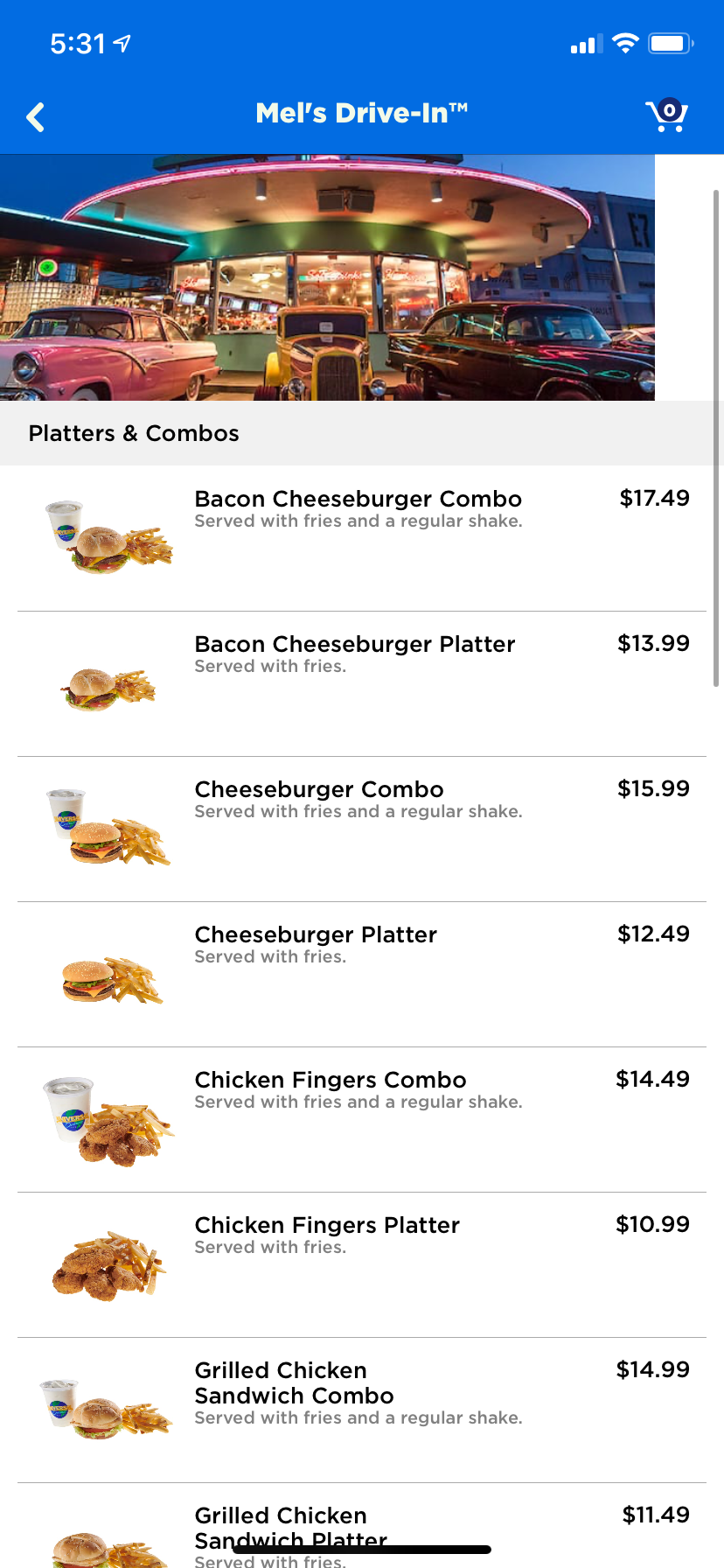 Mobile ordering on the Universal Orlando app