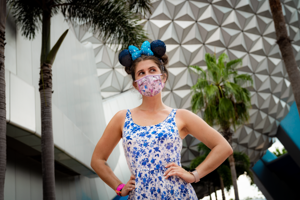 Disney Ears, Face Mask, and MagicBand at Epcot