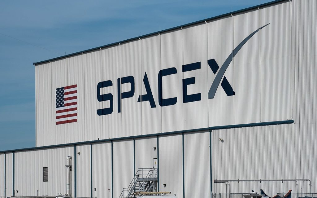 The SpaceX hangar at the Kennedy Space Center