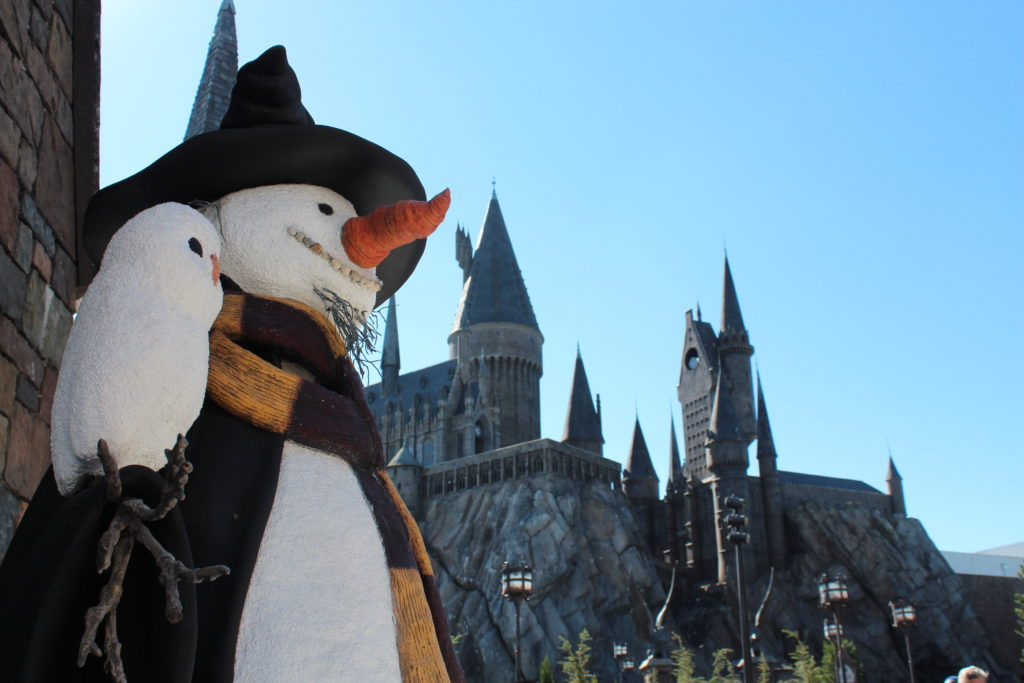 The snowman outside of Harry Potter and the Forbidden Journey
