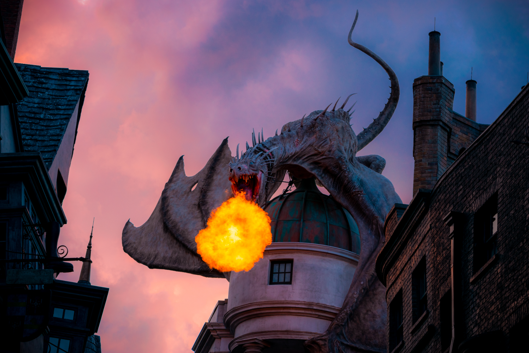 The dragon on Gringotts Bank in Diagon Alley