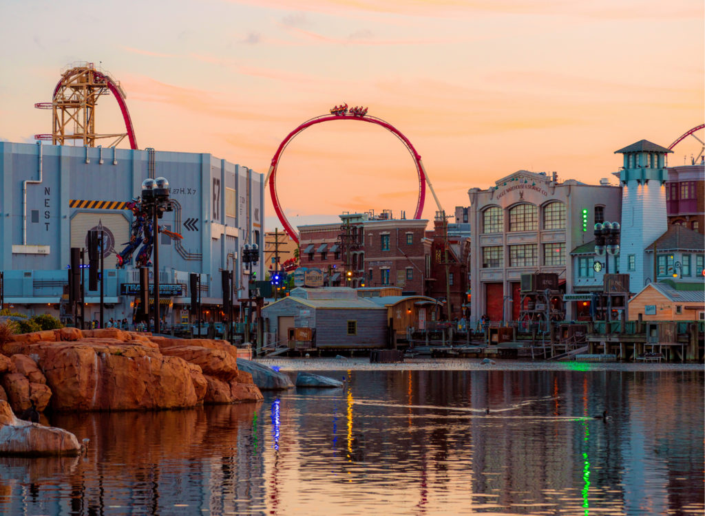 Universal Studios Florida skyline sunset