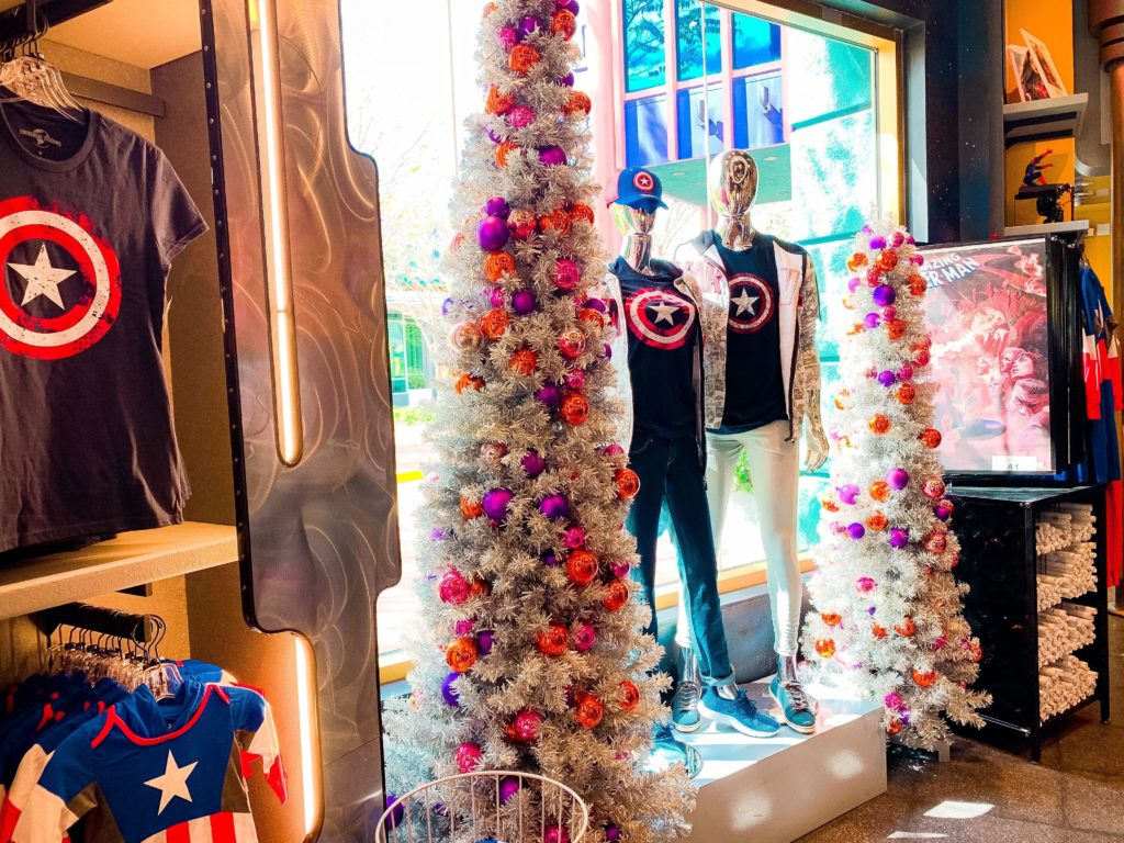Christmas trees in Marvel Super Hero Island