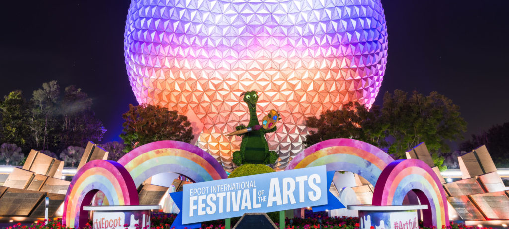 Festival of the Arts - Spaceship Earth at dusk
