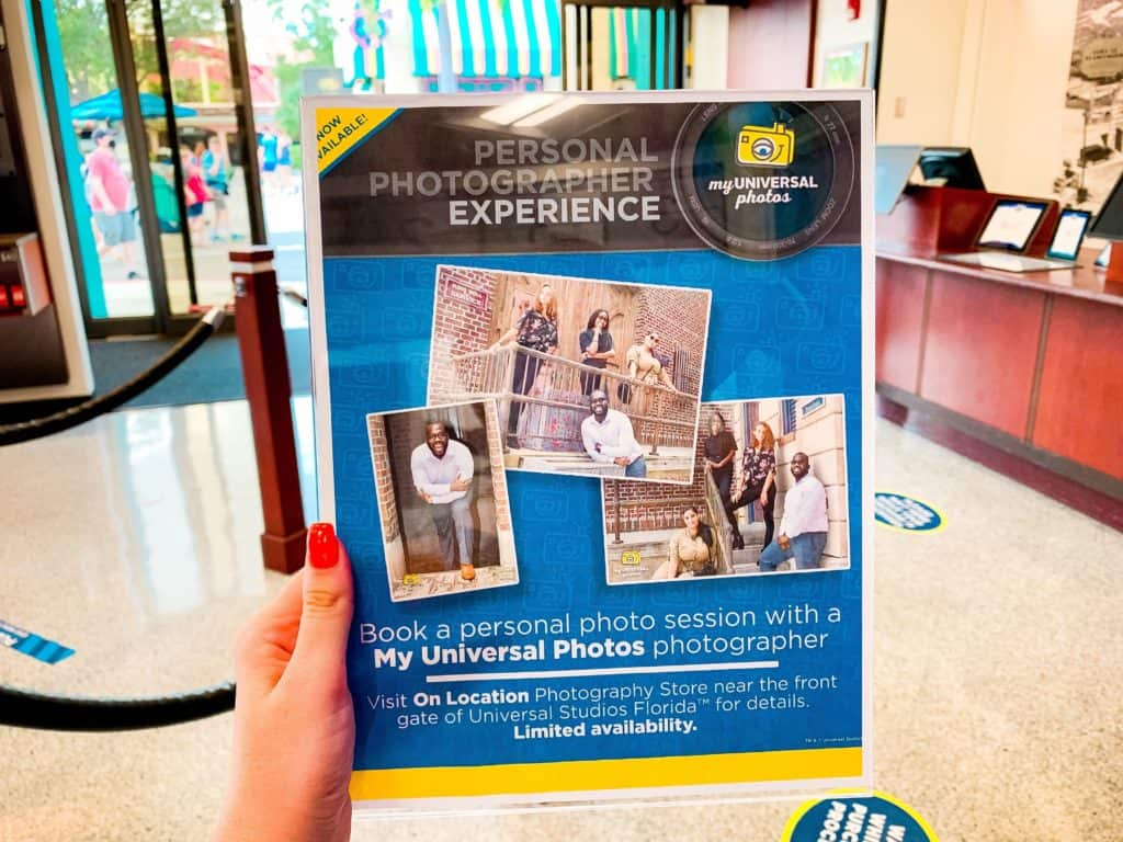 My Universal Photos's Personal Photographer Experience info sheet