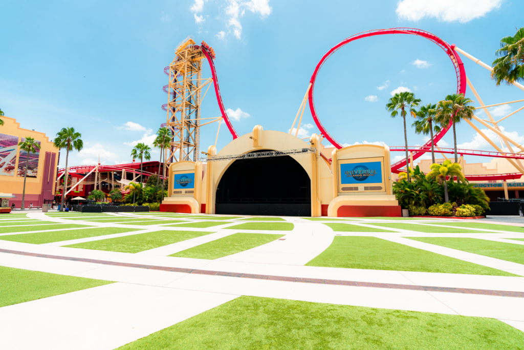 The grassy area in front of Universal Music Plaza is the perfect place to take in a show