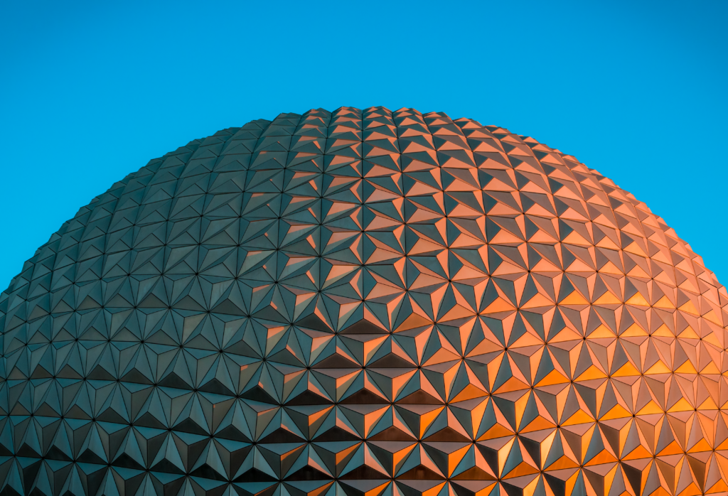 Spaceship Earth glowing at sunset