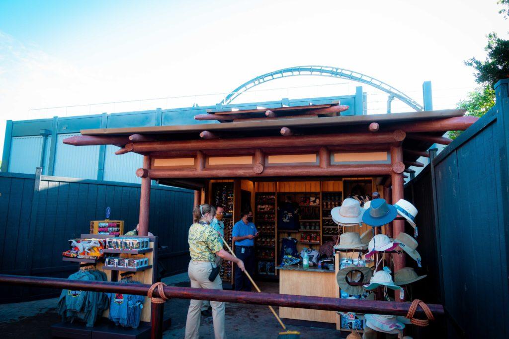 Jurassic World VelociCoaster merchandise kiosk