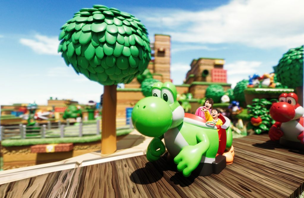 Yoshi's Adventure's ride vehicle at Super Nintendo World