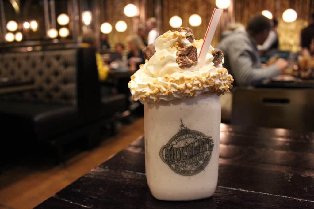 A milkshake at Toothsome Chocolate Emporium