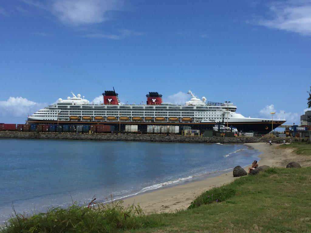 The Disney Wonder docked in Maui