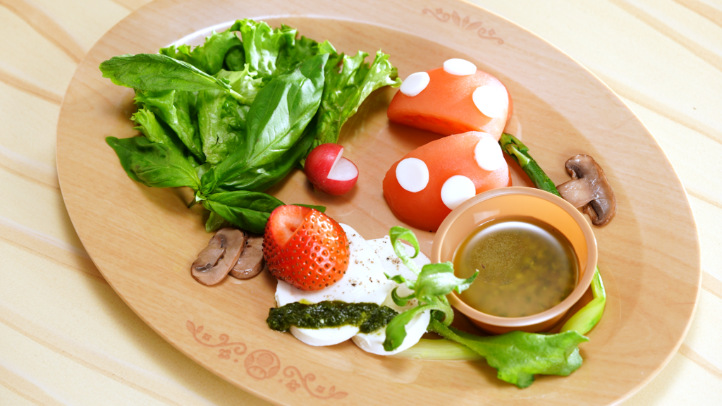 Piranha Plant Caprese Salad at Kinopio's Cafe in Super Nintendo World