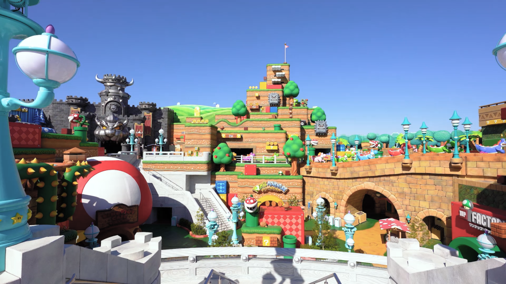 Super Nintendo World POV from Peach's Castle