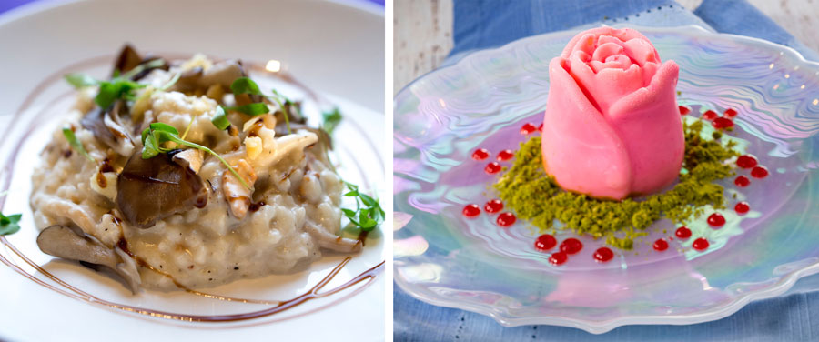 Wild Mushroom Risotto and Vanilla, Rose Water, and Pistachio Panna Cotta