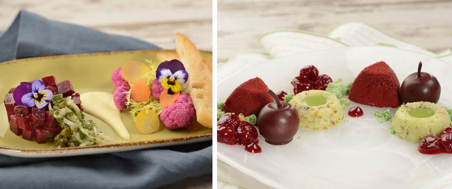 Salt-roasted Beet Tartare and Pistachio Cake with Cherry Mousse, both from Painter's Palate