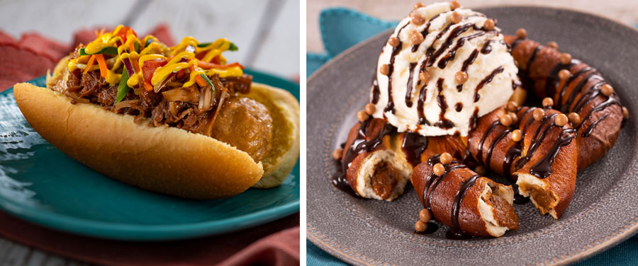 Plant-based Bratwurst with Spicy Turmeric Aïoli, Coffee Barbecue Jackfruit, and Slaw; Warm Brown Sugar-stuffed Pretzel with Banana Soft-serve Ice Cream and Chocolate Sauce