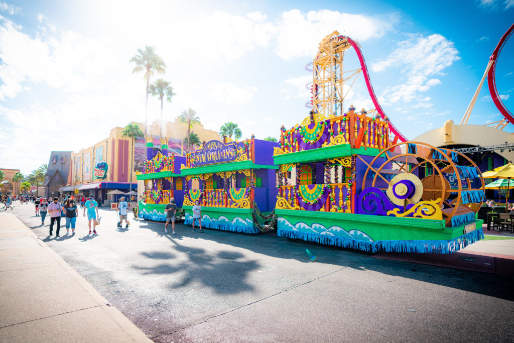 The Miss New Orleans steamboat float at Mardi Gras 2021