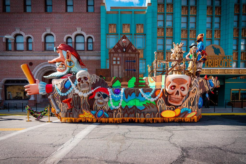 Pirate ship float at Mardi Gras 2021