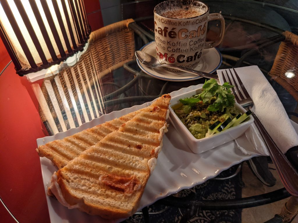 A Grilled Caprese and White Chocolate Mocha Latte at Achilles Art Cafe
