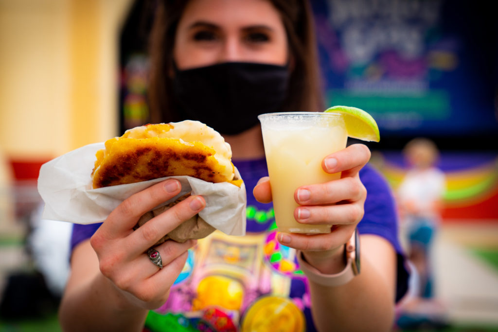 Carnitas Arepas and Coco Loco from Colombia at Mardi Gras 2020