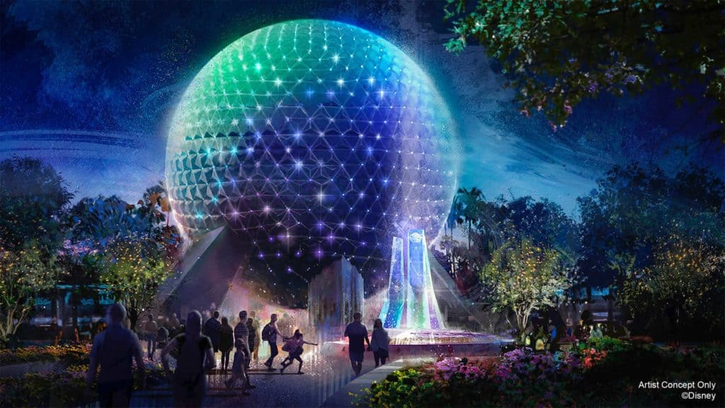 The Spaceship Earth makeover for Disney World's 50th anniversary celebration