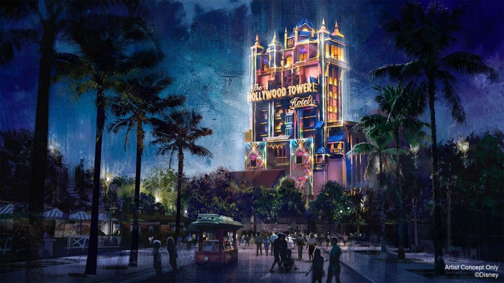 The Hollywood Tower Hotel makeover for Disney World's 50th anniversary celebration
