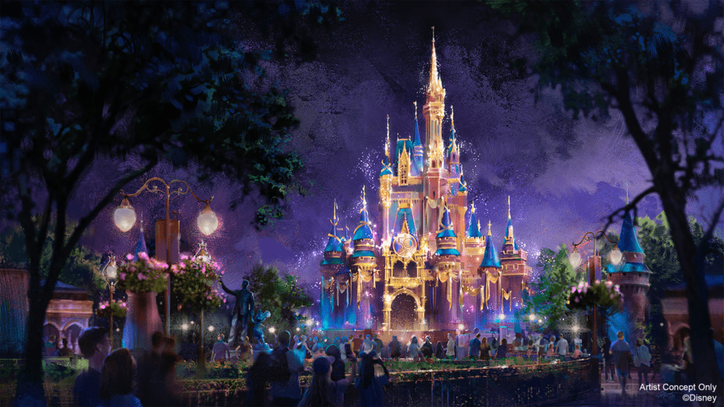 The Cinderella Castle makeover for Disney World's 50th anniversary celebration