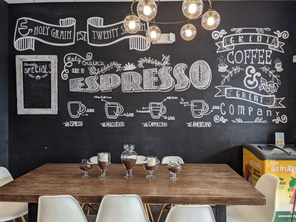 The interior of Holy Grain Coffee Shop