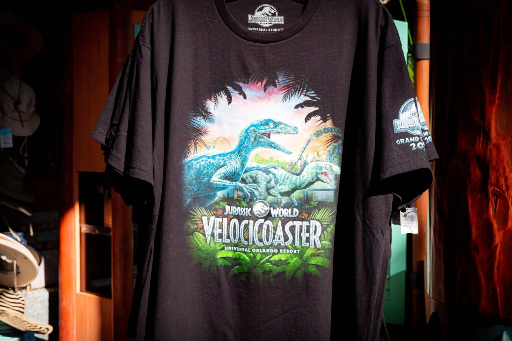 Jurassic World VelociCoaster black tee with raptor art