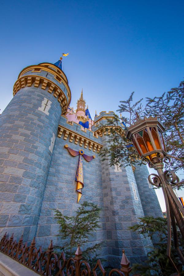 Cinderella Castle's 50th anniversary decor at Magic Kingdom