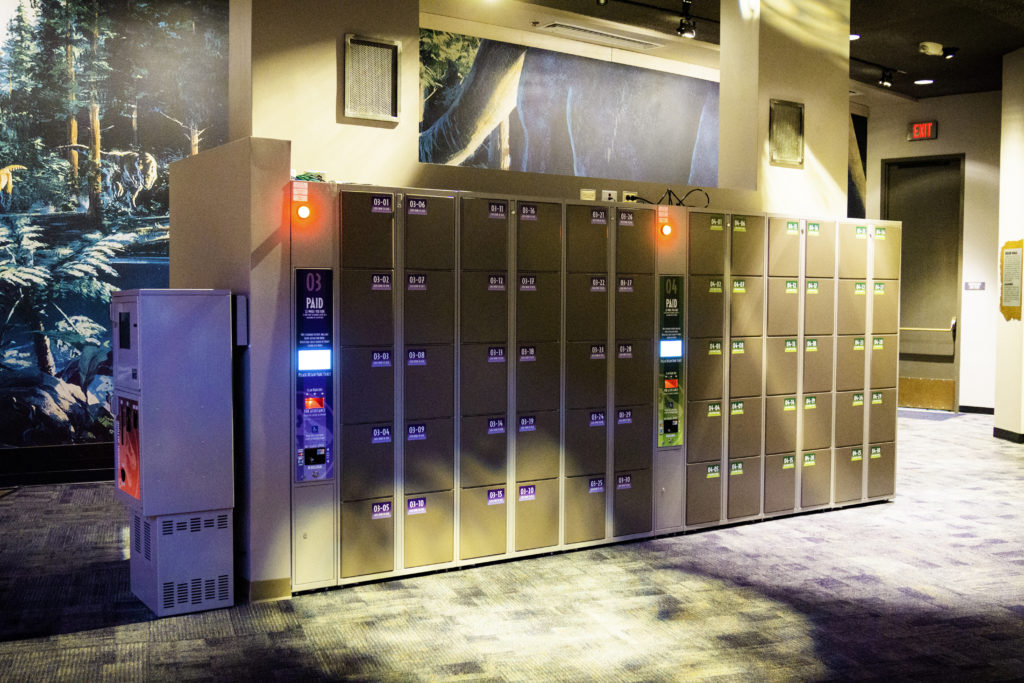 Jurassic World VelociCoaster lockers in the Jurassic Park Discovery Center