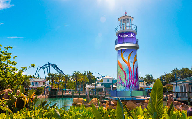 SeaWorld Orlando's repainted lighthouse