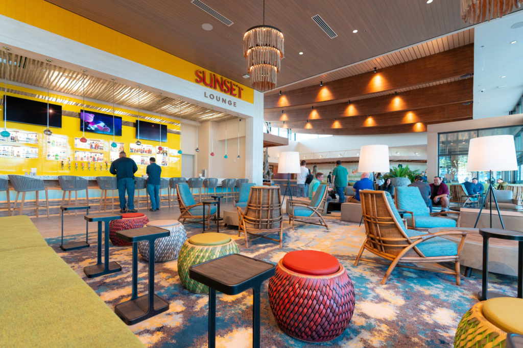 Ample seating and open space surrounds Sunset Lounge in the lobby of Dockside Inn and Suites