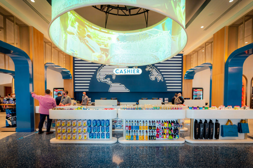 The check-out section of the new Universal Studios Store