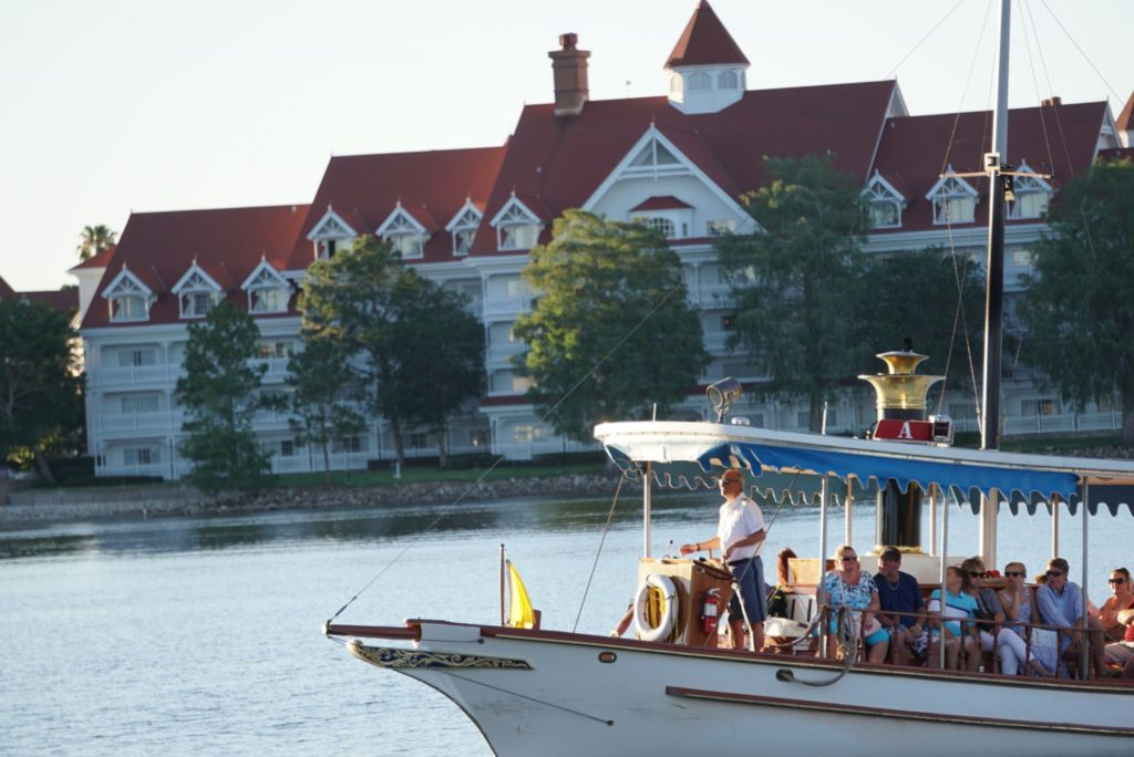 Riding the boat in front of Disney's Grand Floridian Resort